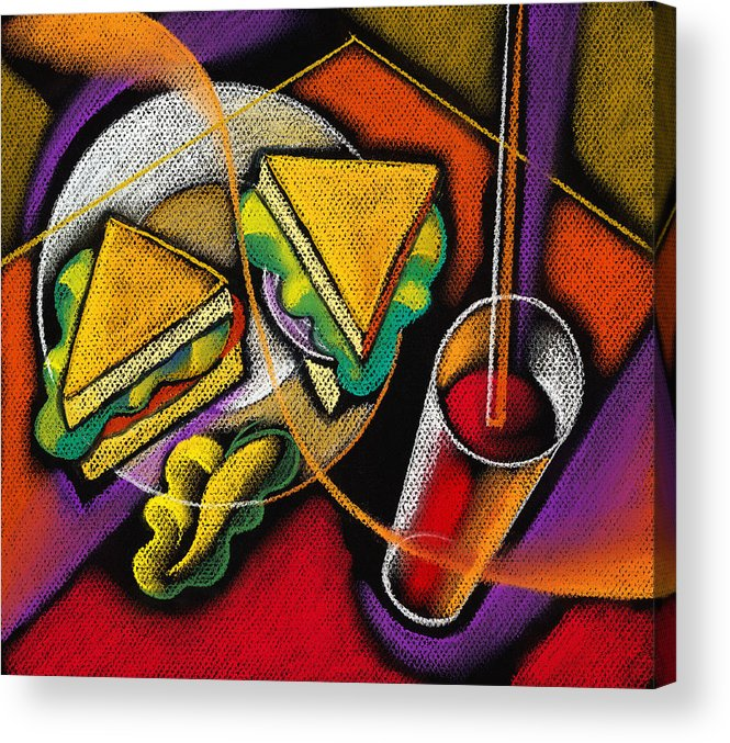 Bowl Close Up Color Image Concept Convenience Dinner Food And Drink Fork Grape Hamburger Illustration Illustration And Painting Lunch Macaroni Macaroni And Cheese Nobody Sandwich Square Image Still Life Variety Assortment Bread Close-up Color Colour Cutlery Drawing Food Fruit Ground Beef Meal Mince Pasta Square Still-life Abstract Painting Decorative Art Acrylic Print featuring the painting Lunch by Leon Zernitsky