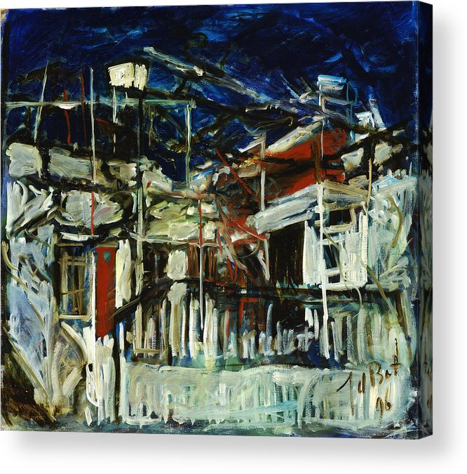 Cyprus House Night Darkness Blue White Red Village Acrylic Print featuring the painting Pissouri Village House by Joan De Bot