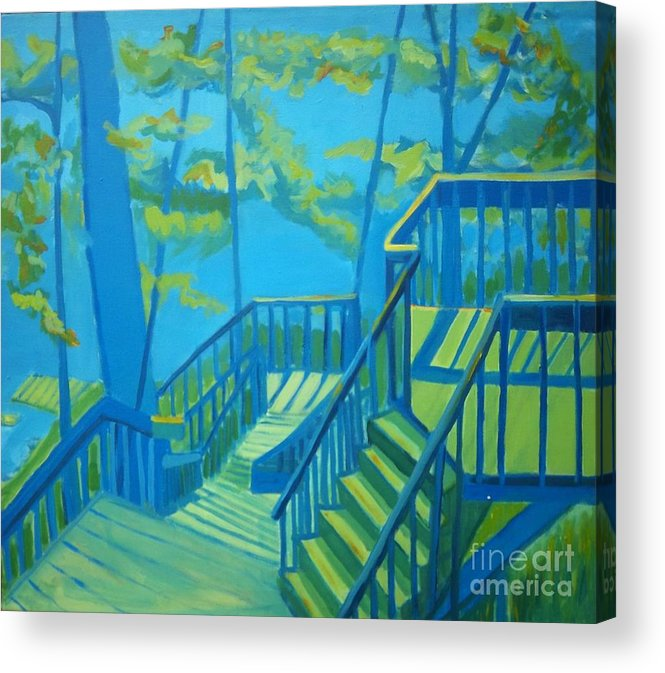 New Hampshire Acrylic Print featuring the painting Suncook Stairwell by Debra Bretton Robinson