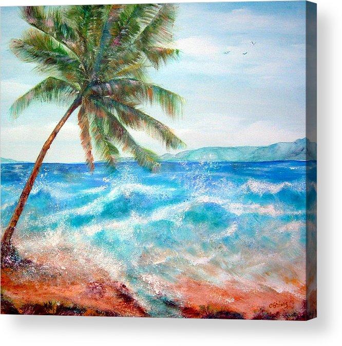 Ocean Acrylic Print featuring the painting Sunset Beach Hawaii by Cheryl Ehlers