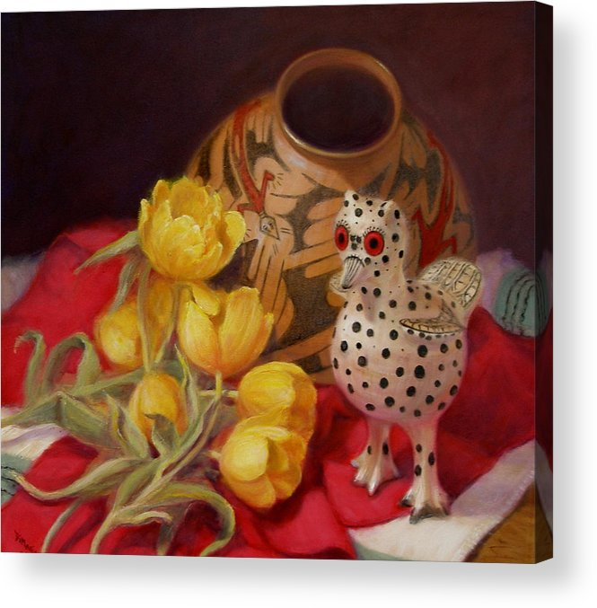 Realism Acrylic Print featuring the painting Tulips And Pottery by Donelli DiMaria