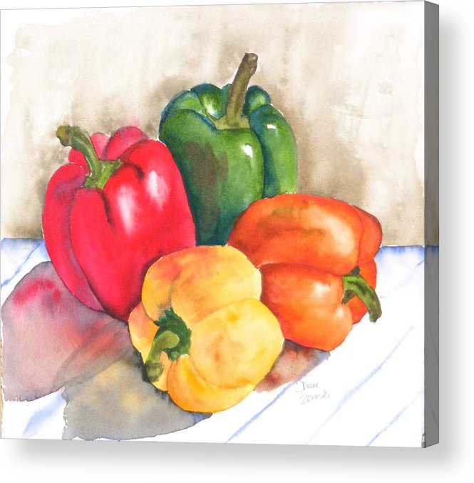Food Acrylic Print featuring the painting Two Peppers by Diane Ziemski