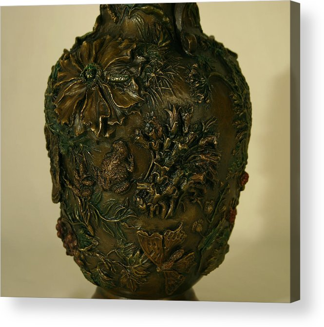 Floral Acrylic Print featuring the sculpture Wildflower Vase Detail by Dawn Senior-Trask