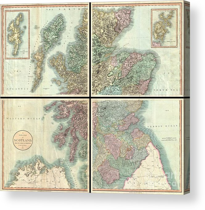 A Very Attractive Example Of John Cary's Stupendous Four Sheet 1801 Map Of Scotland. Covers The Entirety Of Scotland As Well As Parts Of Neighboring England And Ireland. Inset Maps Detail The Orkney Islands And The Shetland Islands. Offers Extraordinary Detail On The Whole Of Scotland With Special Attention To Topography Acrylic Print featuring the photograph 1801 Cary Map Of Scotland by Paul Fearn