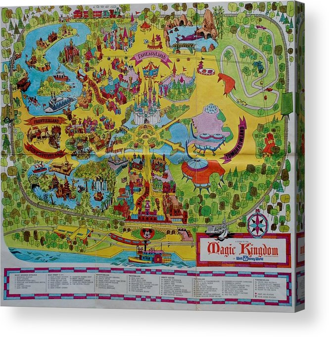 picture relating to Printable Magic Kingdom Maps identify 1971 Initial Map Of The Magic Kingdom Acrylic Print