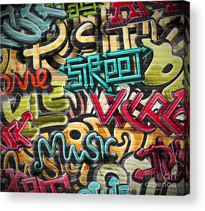 Symbol Acrylic Print featuring the digital art Graffiti Grunge Texture. Eps 10 by Lonely