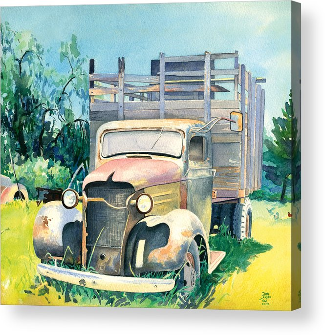 Water Color Acrylic Print featuring the painting Old Kula Truck by Don Jusko