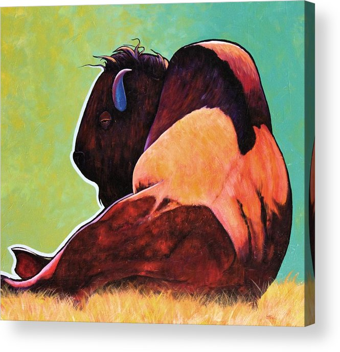 Wildlife Acrylic Print featuring the painting On Empty Bison by Joe Triano