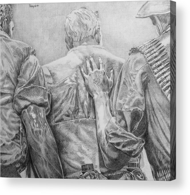 Three Soldiers Acrylic Print featuring the drawing Three Soldiers by Robert Tracy