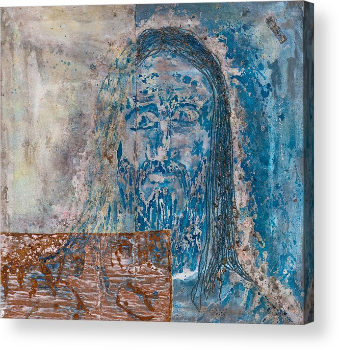 Art Acrylic Print featuring the painting See Me See My Father And The Spirit by Thomas Lentz