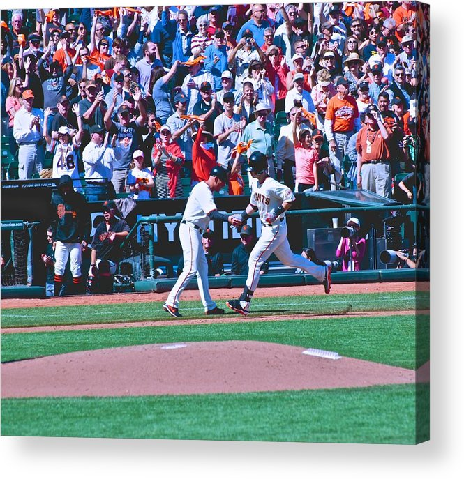 Buster Posey Acrylic Print featuring the photograph Buster Posey Runs Home by Eric Tressler