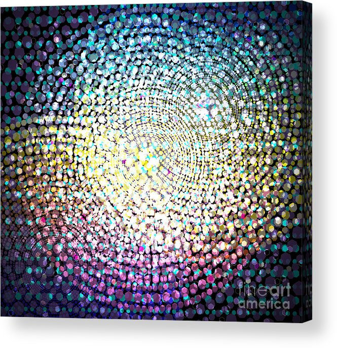 Abstract Acrylic Print featuring the digital art Dots Colors by Atiketta Sangasaeng