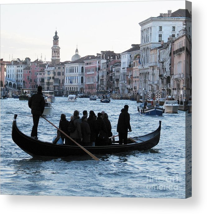 Grand Canal Acrylic Print featuring the pyrography Traghetto . Gran Canal. Venice by Bernard Jaubert