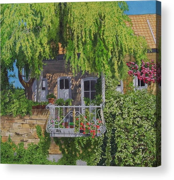 Rural Acrylic Print featuring the mixed media Balcony With Flowers by Constance Drescher
