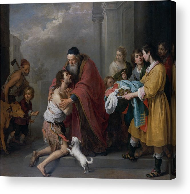 Spanish Painters Acrylic Print featuring the painting The Return Of The Prodigal Son by Bartolome Esteban Murillo