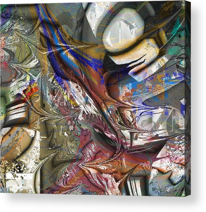 Abstract Brown Blue Acrylic Print featuring the digital art Brown by Dave Kwinter