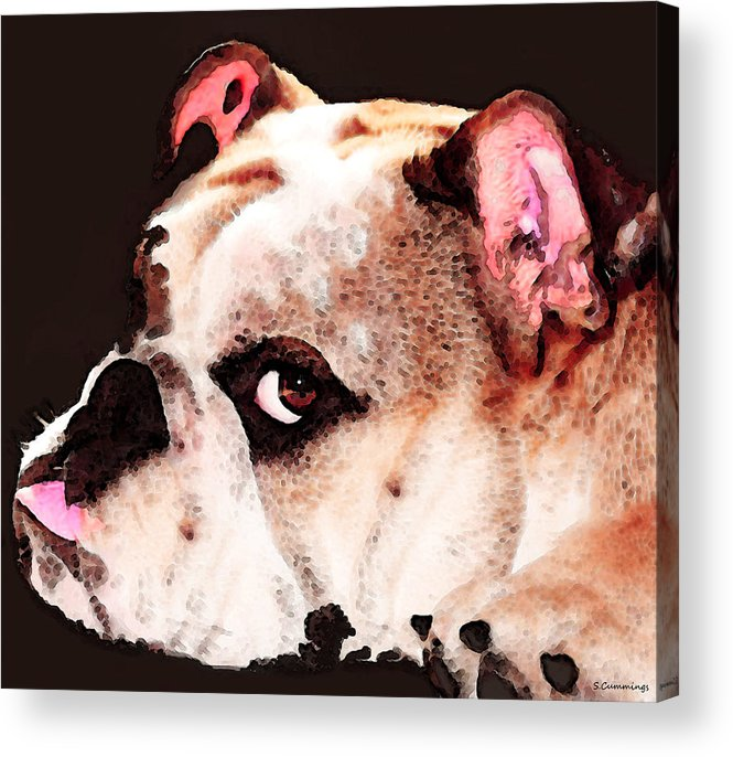 Dog Acrylic Print featuring the painting Bulldog Art - Let's Play by Sharon Cummings