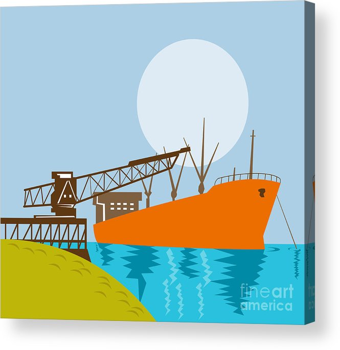 Illustration Acrylic Print featuring the digital art Crane Loading A Ship by Aloysius Patrimonio