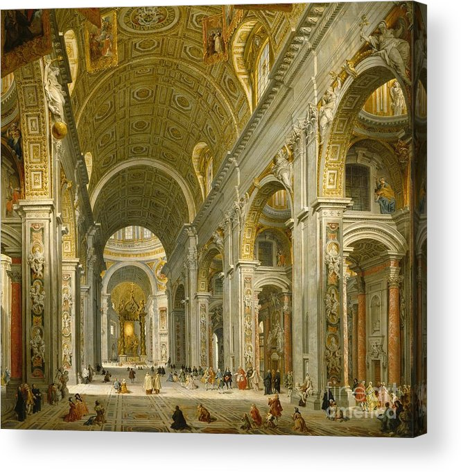 Interior Acrylic Print featuring the painting Interior Of St. Peter's - Rome by Giovanni Paolo Panini