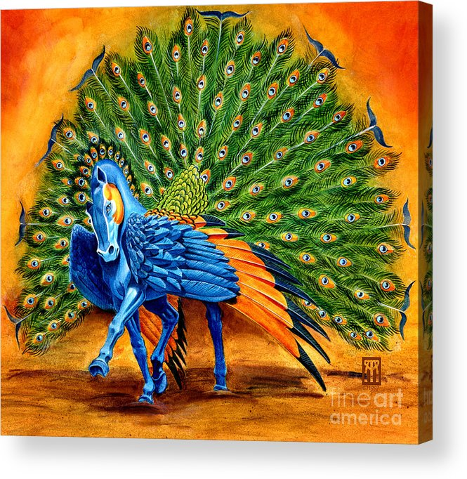 Horse Acrylic Print featuring the painting Peacock Pegasus by Melissa A Benson