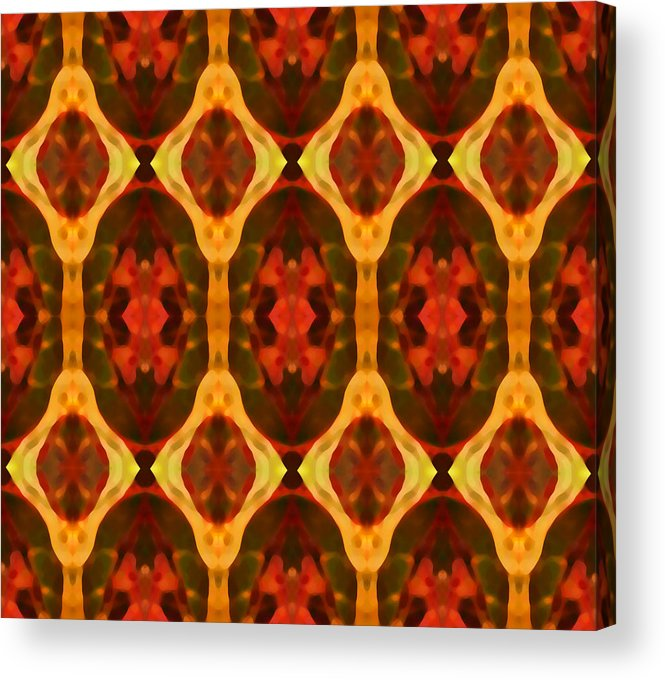 Abstract Acrylic Print featuring the painting Ruby Glow Pattern by Amy Vangsgard