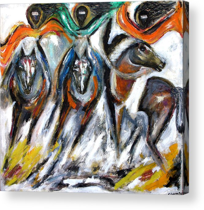 Horses Acrylic Print featuring the painting The Great Escape by Narayanan Ramachandran