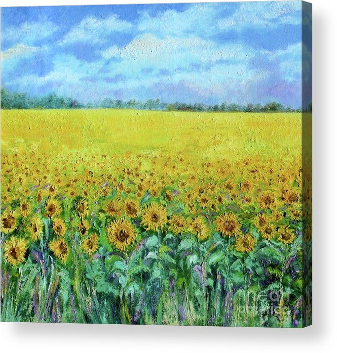 Landscape Acrylic Print featuring the painting Sunflower Field Under Blue Skies by Shan Ungar