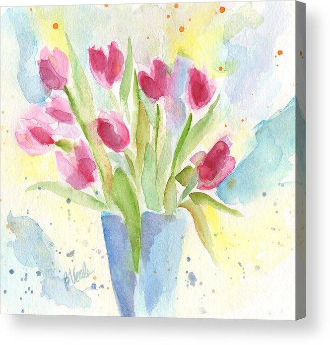Tulips Acrylic Print featuring the painting Spring Bouquet by Bev Veals
