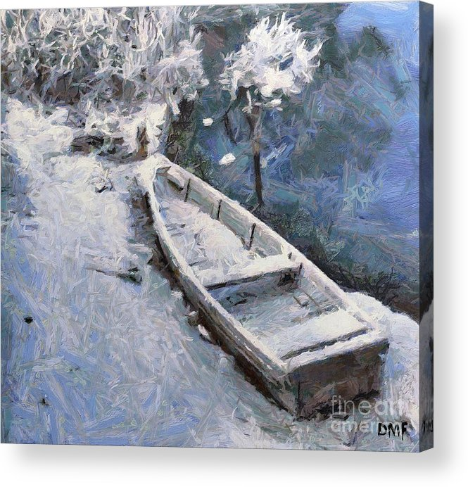 Boat Acrylic Print featuring the painting Waiting For A Spring by Dragica Micki Fortuna