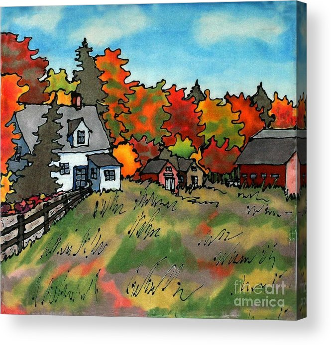 Fall Acrylic Print featuring the painting Autumn Farmstead Silk Painting by Linda Marcille