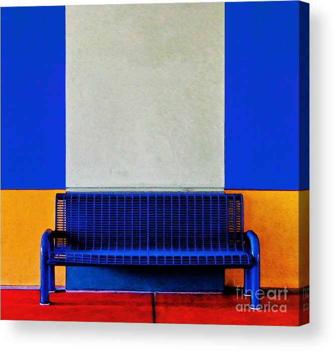 Color Acrylic Print featuring the photograph Blue Bench by Curtis Staiger