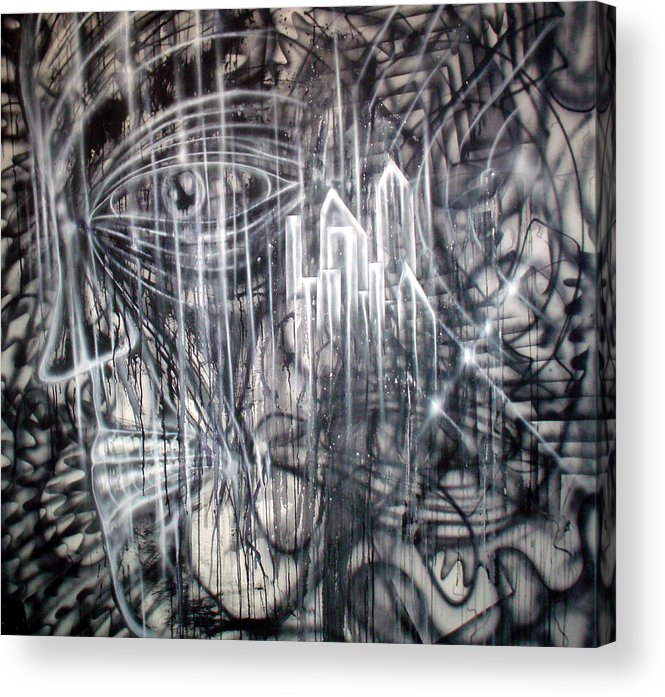 Black Acrylic Print featuring the painting Crystaline by Leigh Odom