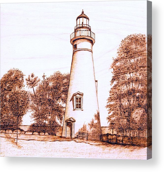 Lighthouse Acrylic Print featuring the pyrography Marblehead Lighthouse by Danette Smith