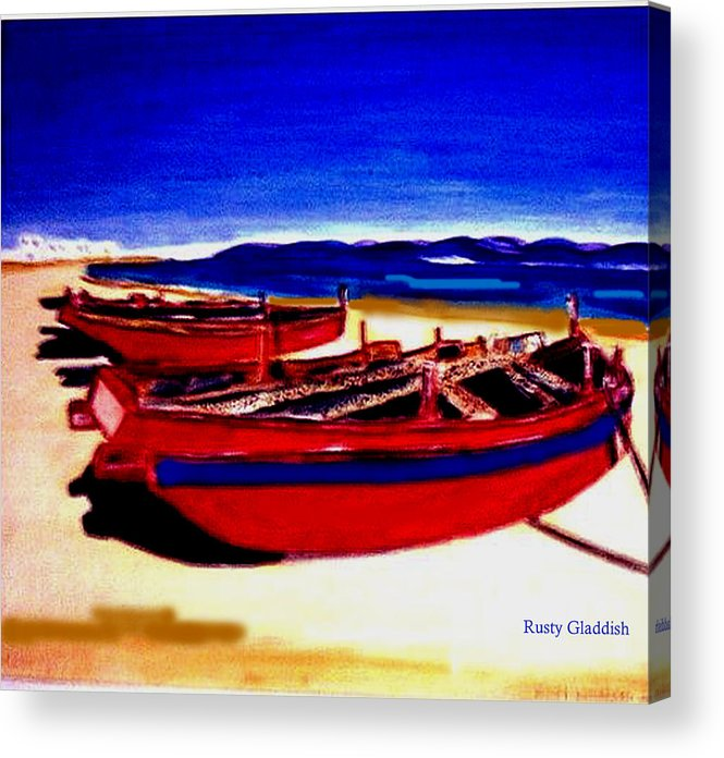 Boats Acrylic Print featuring the painting Red Boats by Rusty Gladdish