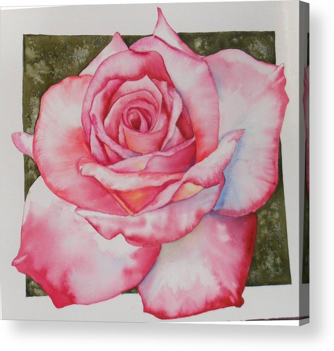Red Acrylic Print featuring the painting Rose 3 by Diane Ziemski