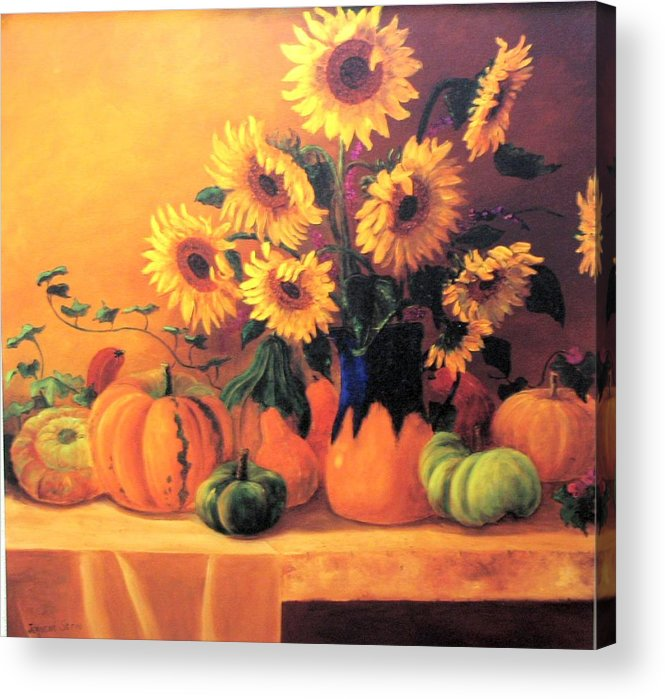 Sunflowers Acrylic Print featuring the painting Sunflowers And Squash by Jeanene Stein