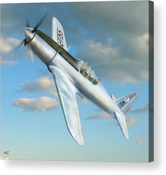 Digital Aviation Art Aviation Pictures Aviation Acrylic Print featuring the photograph Vultee P 66 Experimental Fighter by Alex Arkhipau