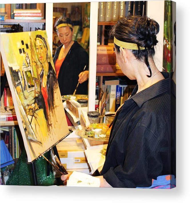 Behind The Scene Acrylic Print featuring the painting Behind The Scenes - Painting Self Portraits by Becky Kim