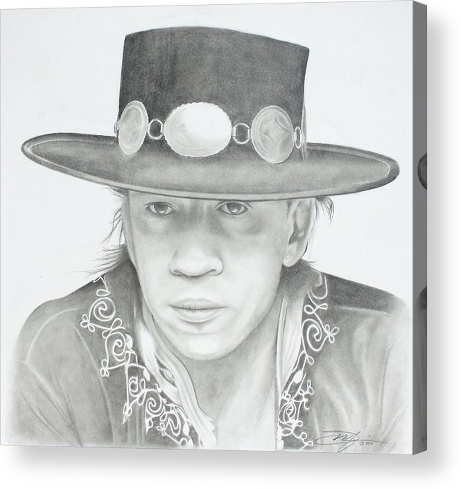 Srv Acrylic Print featuring the drawing SRV by Don Medina