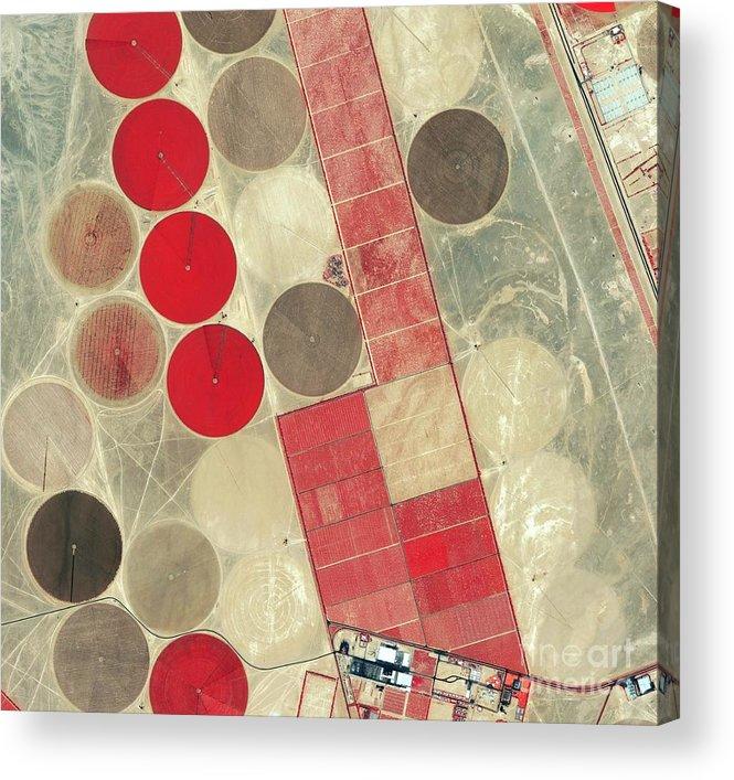 Africa Acrylic Print featuring the photograph Tadco Farm Saudi Arabia Satellite by GeoEye