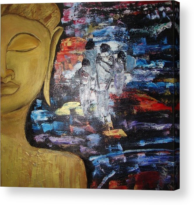 Buddha Acrylic Print featuring the painting The Buddha Way by Meenakshi Chatterjee