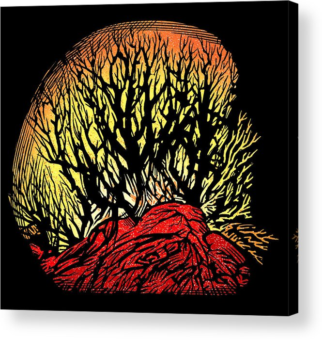 Tree Acrylic Print featuring the photograph Forest Fire, Lino Print by Gary Hincks