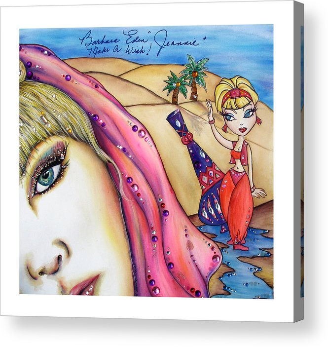 Barbara Eden Acrylic Print featuring the mixed media Make A Wish by Joseph Lawrence Vasile