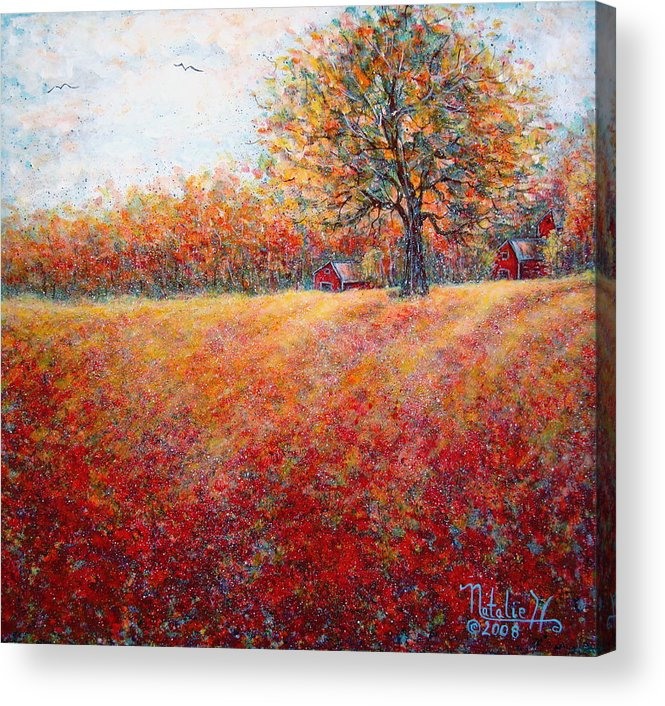 Autumn Landscape Acrylic Print featuring the painting A Beautiful Autumn Day by Natalie Holland
