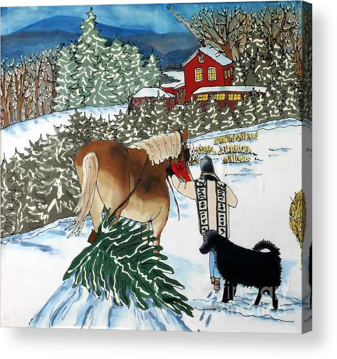 Christmas Acrylic Print featuring the painting Bringing Home The Tree by Linda Marcille