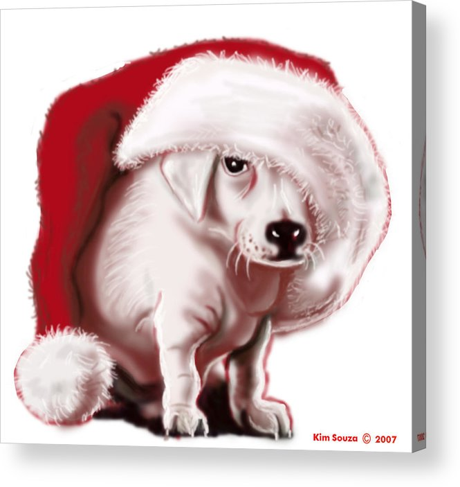 Christmas Acrylic Print featuring the painting Christmas Pup by Kim Souza