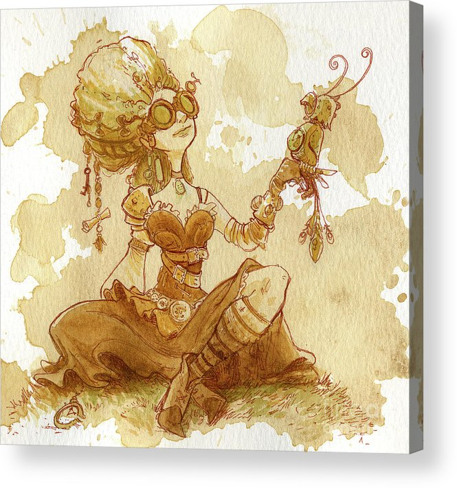 Steampunk Acrylic Print featuring the painting Darjeeling by Brian Kesinger