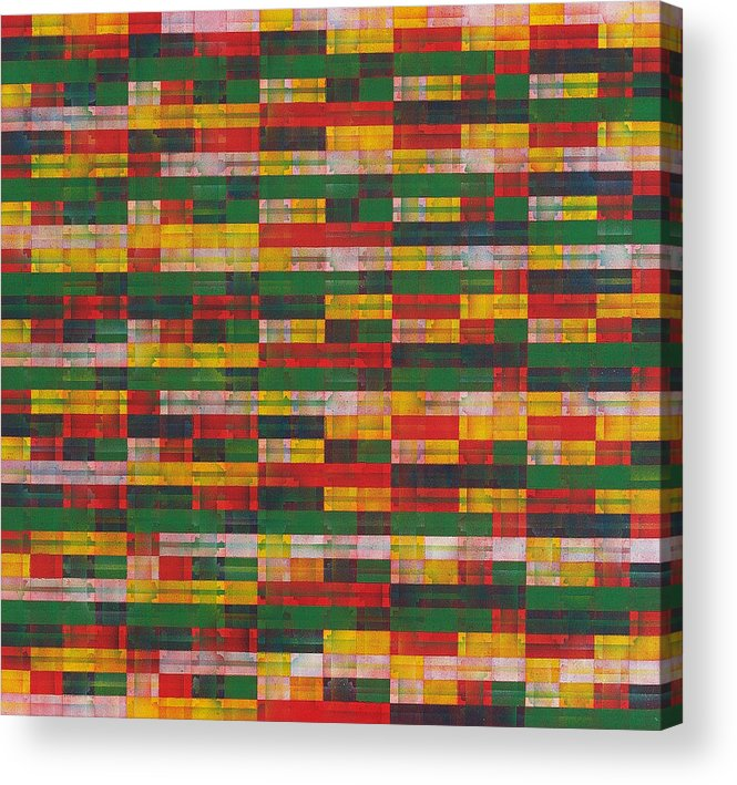 Abstract Pattern Green Red Yellow White Acrylic Print featuring the painting Fac5-horizontal by Joan De Bot
