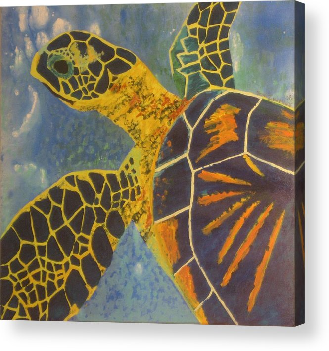 Turtle Paintings Acrylic Print featuring the painting Green Sea Turtle by Bryan Zingmark