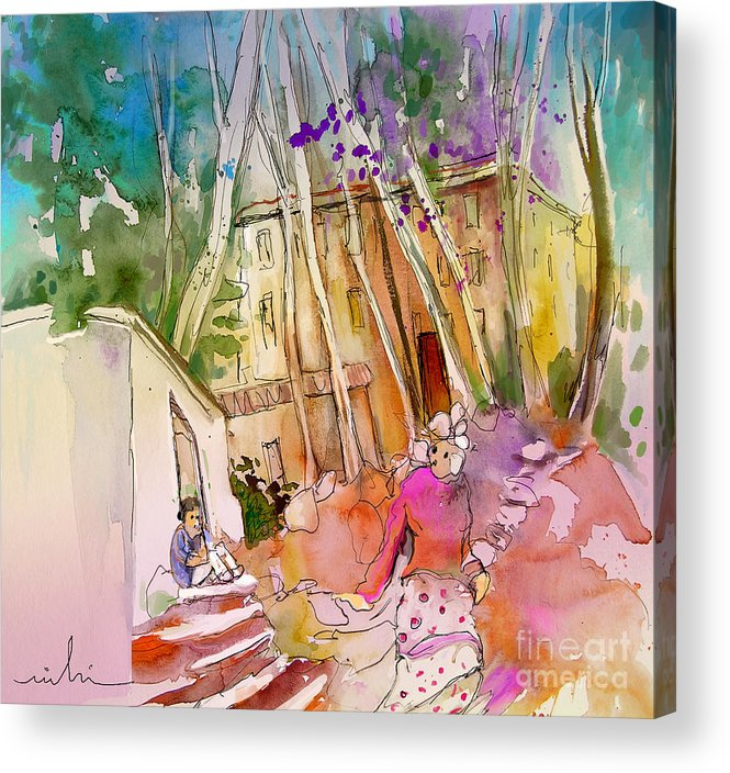 Capileira Acrylic Print featuring the painting Impression Of Capileira 01 by Miki De Goodaboom